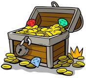 Cofre del tesoro abierto de la historieta con las monedas de oro Fotos de archivo libres de regalías