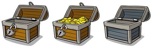 Cofre del tesoro abierto de la historieta con las monedas de oro fijadas Imágenes de archivo libres de regalías