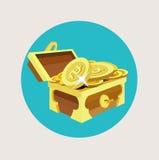 Cofre del tesoro con diseño plano de las monedas de oro stock de ilustración