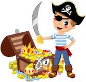 Cofre del tesoro de la espada del muchacho del pirata aislado Fotografía de archivo