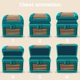 Cofre del tesoro de madera de la animación Fotos de archivo libres de regalías