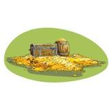 Cofre del tesoro del pirata con oro Foto de archivo libre de regalías
