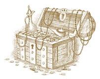 Cofre del tesoro dibujado a mano Foto de archivo libre de regalías