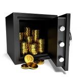 Cofre forte aberto com moedas de ouro Fotografia de Stock Royalty Free