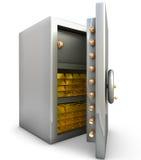 Cofre forte com barra de ouro Foto de Stock