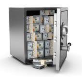 Cofre forte com dinheiro Fotografia de Stock Royalty Free