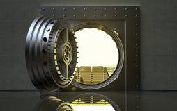 Cofre-forte de banco com barras de ouro para dentro ilustração stock