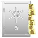 Cofre forte do banco com as dois cem euro- cédulas Imagens de Stock Royalty Free