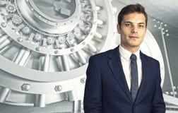 Cofre-forte e homem de negócios Fotografia de Stock