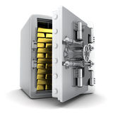 Cofre forte e ouro Fotografia de Stock
