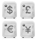 Cofre forte, símbolo de moeda, segurança, cofre-forte, dinheiro, depositando Fotos de Stock Royalty Free