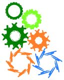 Cog. Illustration of different colored wheels Royalty Free Stock Image