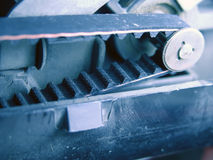Cog Belt on Machine. Machine with cog belt drive stock photos
