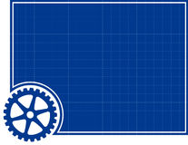 Cog and Blueprint Background Stock Image