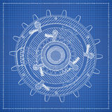 Cog blueprint stylized draft Stock Images