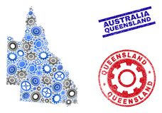 Cog Composition Vector Australian Queensland Map and Grunge Seals. Gear vector Australian Queensland map collage and seals. Abstract Australian Queensland map is royalty free illustration