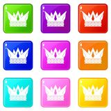 Cog crown icons 9 set. Cog crown icons of 9 color set  vector illustration Royalty Free Stock Images