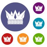 Cog crown icons set. In flat circle red, blue and green color for web Royalty Free Stock Photography