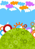 Cog flowers world with clouds card. stock illustration