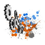 Cog gear and splash colors background Royalty Free Stock Photography