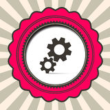 Cog - Gears Icon on Retro Paper Background Royalty Free Stock Photo