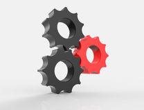 Cog gears mechanism concept. 3d. Isolated Stock Photo