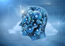 Cog head with cloud servers Stock Images