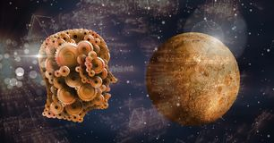 Cog head with planet in space. Digital composite of Cog head with planet in space Royalty Free Stock Photos
