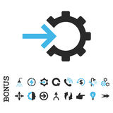 Cog Integration Flat Vector Icon With Bonus Stock Photo