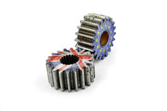 Cog National flag England and Flags of European Union. Royalty Free Stock Photography