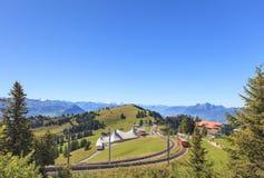 Cogwheel railroad on the Mt. Rigi Stock Photo