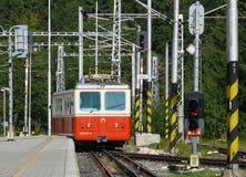 Cog railway. Cog standing in the station Strbske Pleso in the High Tatras. Slovak Republic. September 2012 Stock Image