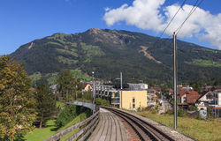 Cogwheel railway to Mt Rigi, Switzerland Stock Image