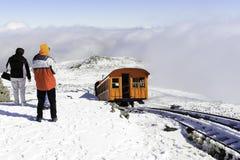 Cog Railway train leaving summit Stock Images