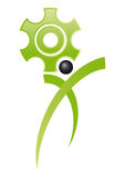 Cogs of job. Cog symbol of work with stylized man Royalty Free Stock Images