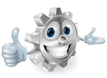 Cog thumbs up mascot illustration Royalty Free Stock Photography