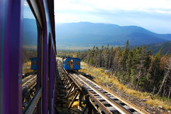 Cog train heads down in White Mountain Royalty Free Stock Photo