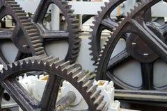 Cog-wheel mechanism. Brown and white cog-wheel mechanism Stock Image