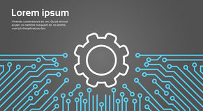 Cog Wheel Over Computer Chip Moterboard Background Network Data Center System Concept Banner Stock Photos