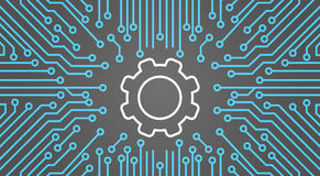 Cog Wheel Over Computer Chip Moterboard Background Network Data Center System Concept Banner Royalty Free Stock Photos
