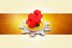 Cog wheel with puzzle piece Stock Photography