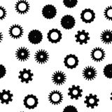 Cog wheel seamless pattern. Clockwork, technological or industrial theme. Flat vector background in black and white royalty free illustration