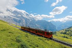 A cog wheel train traveling on famous Jungfrau Railway from Jungfraujoch station top of Europe. To Kleine Scheidegg on a green grassy hille, in Berner Oberland royalty free stock photo