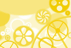 Cog wheels. Background with yellow clockwork gear wheels Stock Photography