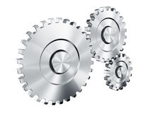 Cog wheels. 3d rendering of 3 cog wheels Royalty Free Stock Photos