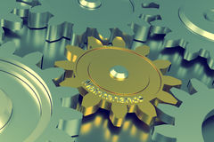 Cog wheels with maintenance. Cog wheels with the word Maintenance, 3d rendering Stock Images