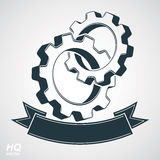 Cog wheels merged, gears with a decorative curvy ribbon. Stock Photo