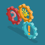 Cog wheels question exclamation light bulb flat isometric vector stock illustration
