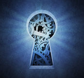 Cog wheels seen through a keyhole Royalty Free Stock Images