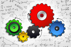 Cog wheels sketch in color. On abstract math background Stock Photography